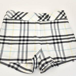 """BURBERRY White """"Nova Check"""" Shorts"""
